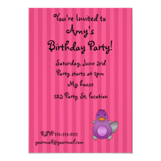 Personalized name baby platypus pink stripes personalized announcement