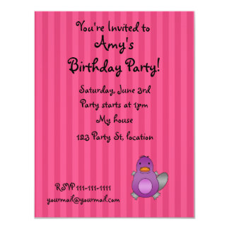 Personalized name baby platypus pink stripes announcement