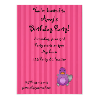 Personalized name baby platypus pink stripes invites