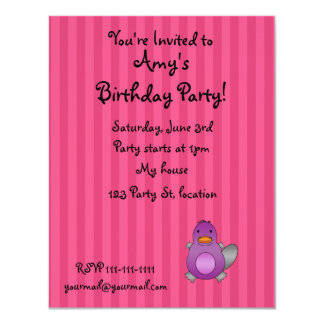 Personalized name baby platypus pink stripes custom announcement