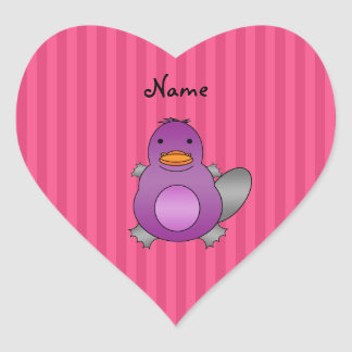 Personalized name baby platypus pink stripes heart sticker