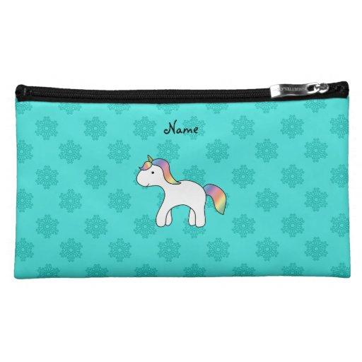 Personalized name baby unicorn aqua snowflakes makeup bag