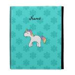 Personalized name baby unicorn aqua snowflakes iPad folio cases