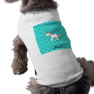 Personalized name baby unicorn aqua snowflakes doggie t shirt