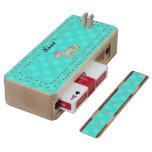 Personalized name baby unicorn aqua snowflakes maple cribbage board