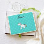Personalized name baby unicorn aqua snowflakes jumbo cookie