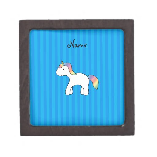 Personalized name baby unicorn blue stripes premium jewelry boxes