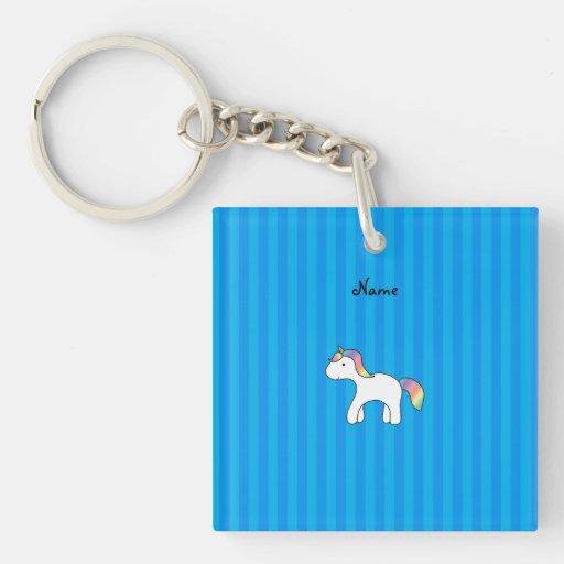 Personalized name baby unicorn blue stripes Single-Sided square acrylic keychain