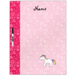 Personalized name baby unicorn pink flowers Dry-Erase whiteboard