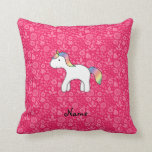 Personalized name baby unicorn pink flowers throw pillows