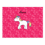 Personalized name baby unicorn pink flowers postcard