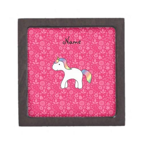 Personalized name baby unicorn pink flowers premium gift box