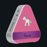 """Personalized name baby unicorn pink hearts bluetooth speaker<br><div class=""""desc"""">Cute unicorn gift ideas for girls,  women and teenagers. Create your own Personalized with a name, or initials or saying cute rainbow baby unicorn with pink hearts pattern and purple stripe.</div>"""