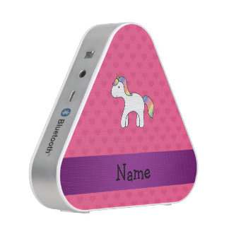 Personalized name baby unicorn pink hearts bluetooth speaker