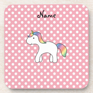 Personalized name baby unicorn pink polka dots drink coaster