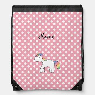 Personalized name baby unicorn pink polka dots drawstring bag