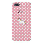 Personalized name baby unicorn pink polka dots covers for iPhone 5
