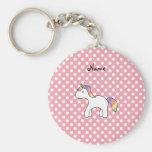 Personalized name baby unicorn pink polka dots key chains