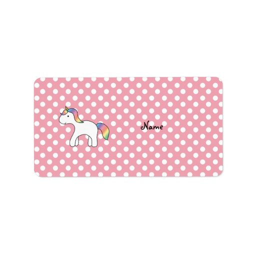 Personalized name baby unicorn pink polka dots address label