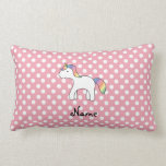 Personalized name baby unicorn pink polka dots throw pillow