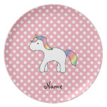 Personalized name baby unicorn pink polka dots dinner plates