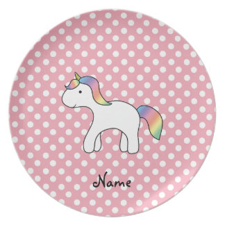 Personalized name baby unicorn pink polka dots plate
