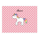 Personalized name baby unicorn pink polka dots postcard