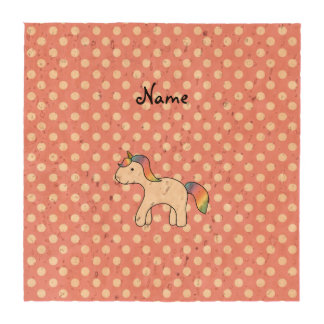 Personalized name baby unicorn pink polka dots coasters