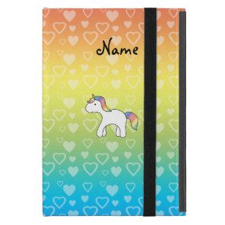 Personalized name baby unicorn rainbow hearts cover for iPad mini
