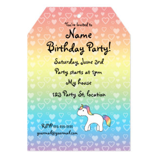 Personalized name baby unicorn rainbow hearts custom invite