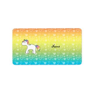 Personalized name baby unicorn rainbow hearts label