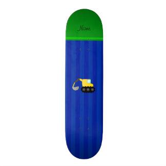 Personalized name backhoe blue stripes custom skate board