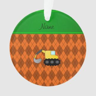 Personalized name backhoe orange argyle