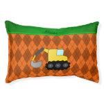Personalized name backhoe orange argyle small dog bed