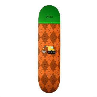 Personalized name backhoe orange argyle skateboard