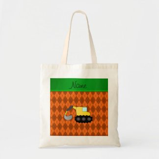 Personalized name backhoe orange argyle tote bag