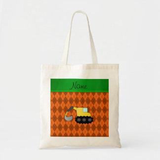 Personalized name backhoe orange argyle tote bag