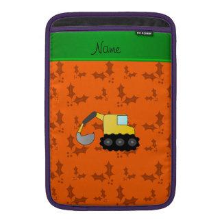 Personalized name backhoe orange holly MacBook sleeves