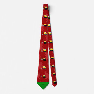 Personalized name backhoe red christmas trees neck tie