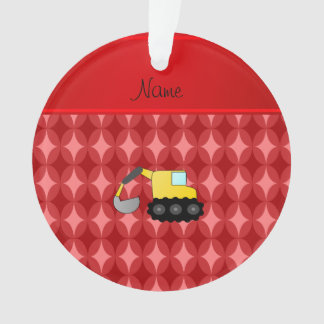 Personalized name backhoe red retro ovals