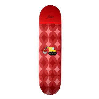 Personalized name backhoe red retro ovals skate deck