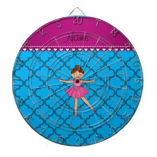Personalized name ballerina blue moroccan dart board
