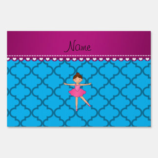 Personalized name ballerina blue moroccan lawn signs