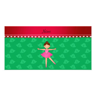 Personalized name ballerina green bells photo card