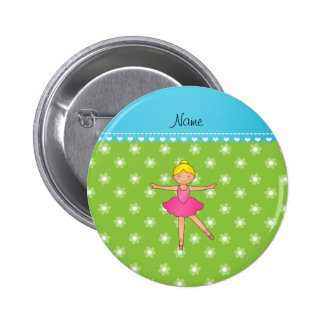 Personalized name ballerina green flowers buttons