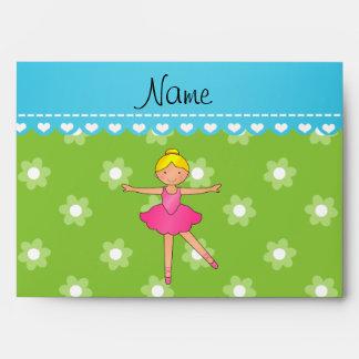Personalized name ballerina green flowers envelope