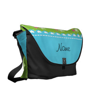 Personalized name ballerina green flowers messenger bags