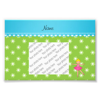 Personalized name ballerina green flowers photographic print
