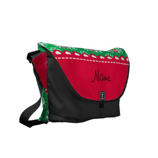 Personalized name ballerina green snowflakes courier bags