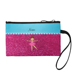 Personalized name ballerina neon hot pink glitter coin wallet